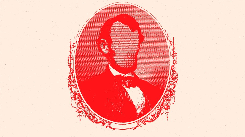 Artwork of a red-tinted portrait of Abraham Lincoln, but his face is blurred
