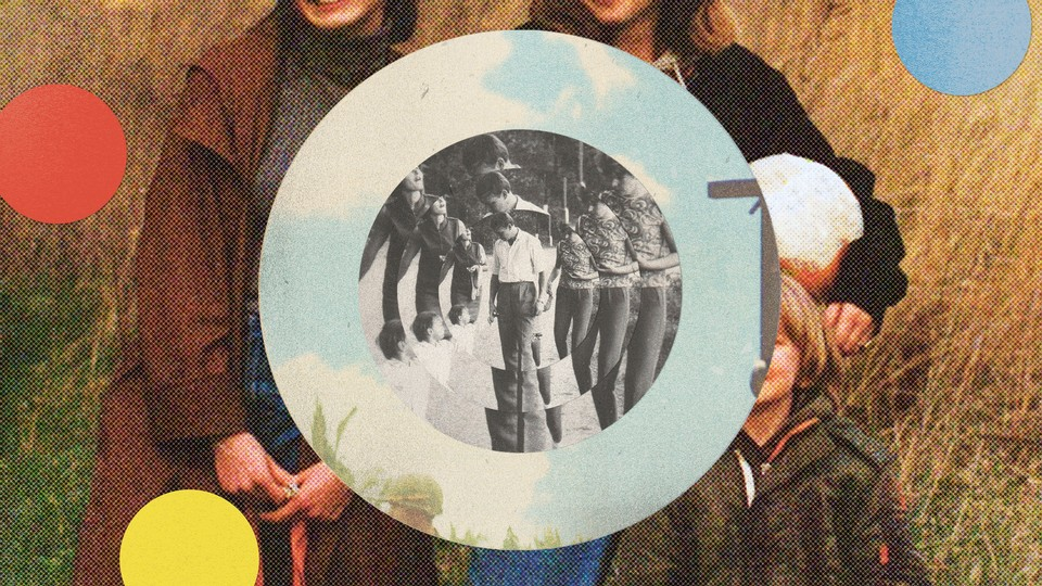 Vintage black and white photo of several people layered in concentric circles like a target, inside a circular color photo with blue sky, on top of background color family portrait in a field, with red, yellow, blue circles.