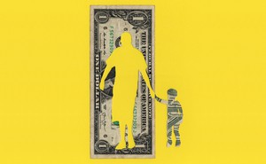 illustration: dollar bill on yellow background with adult shape cut out holding hand of child