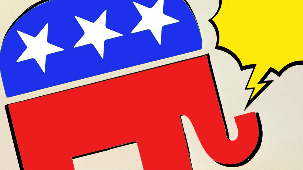 Imagine of a GOP elephant and a yellow speech bubble