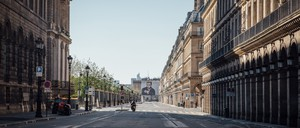The Rue de Rivoli in Paris is deserted during coronavirus lockdown.
