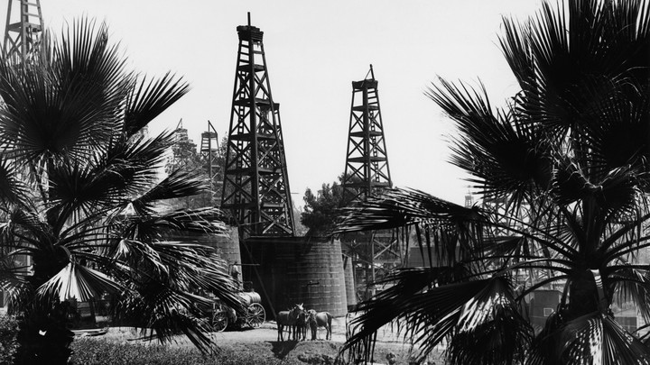 Horses stand beneath oil derricks and palm trees in this black-and-white photo of Los Angeles, California.