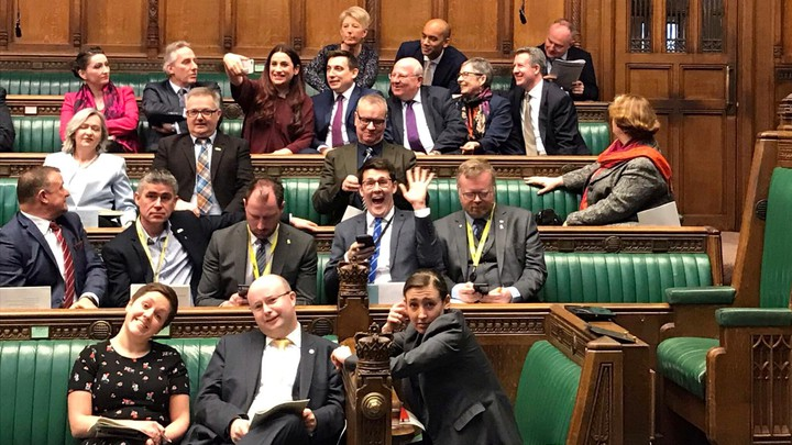 """Members of the newly formed """"Independent Group"""" sit together in the British Parliament."""