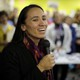 Then–Democratic House candidate Sharice Davids talks to supporters during a rally at her campaign office on Saturday, November 3, 2018, in Overland Park, Kansas.