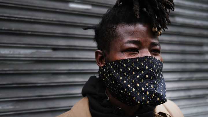 A person in a face mask