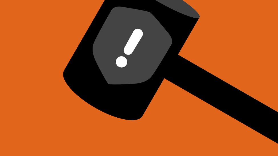 Illustration of a gavel, with the Clubhouse black badge on it