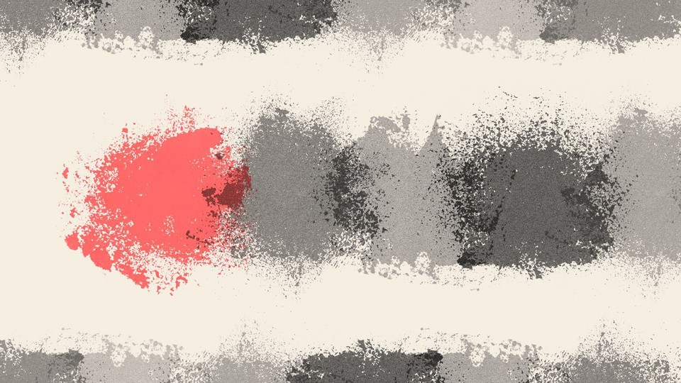 Three gray blobs and one red blob