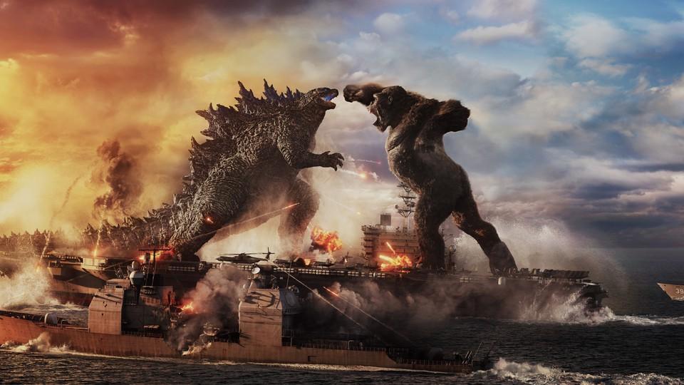 Godzilla and Kong fight on a battleship