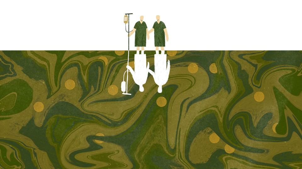 An illustration of two men in hospital gowns, one with an IV in his arm. They are small and standing atop an enormous murky sea. Reflected beneath them are their silhouettes, cut out in white.