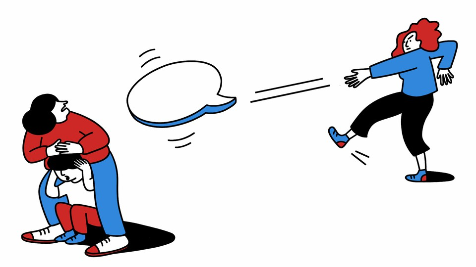 A teacher throws a word bubble like a frisbee at a parent cowering over her child.