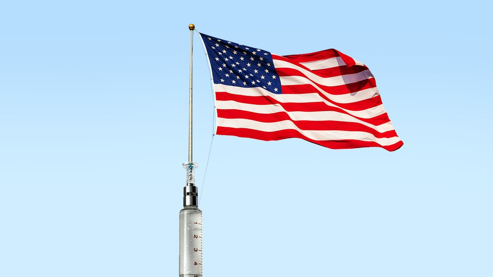 An American flag emitting from a syringe