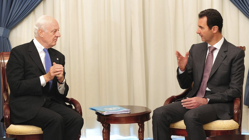 Staffan de Mistura meets with Syrian President Bashar al-Assad in Damascus in 2014.