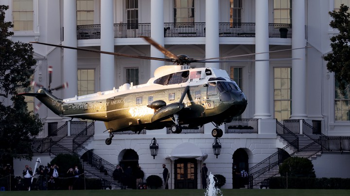 Marine One in flight outside the White House