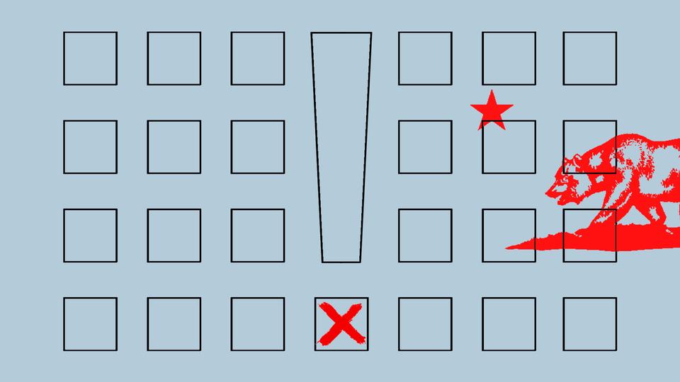 An illustration of a ballot overlaid on the California flag and an exclamation mark
