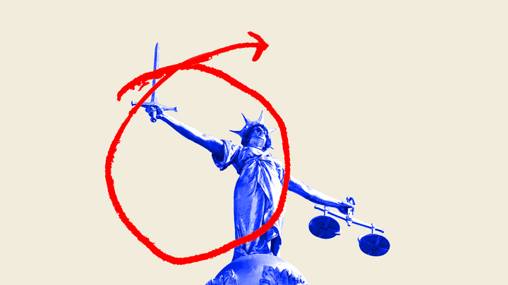 An illustration of Lady Justice with a sword that is circled in red ink