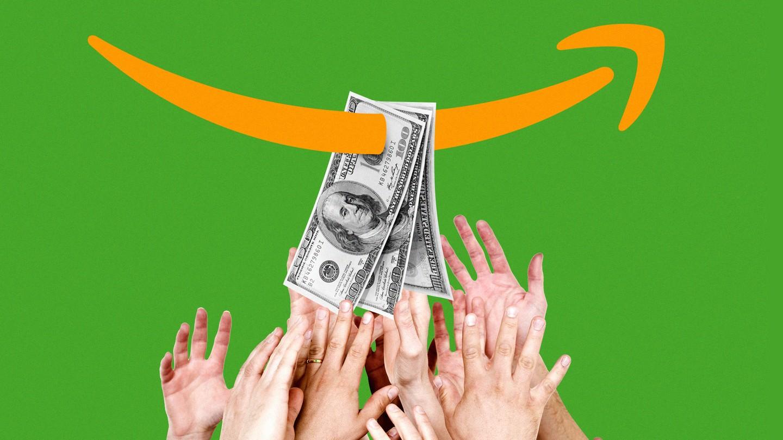 Hands grabbing for $100 bills pierced by the Amazon arrow