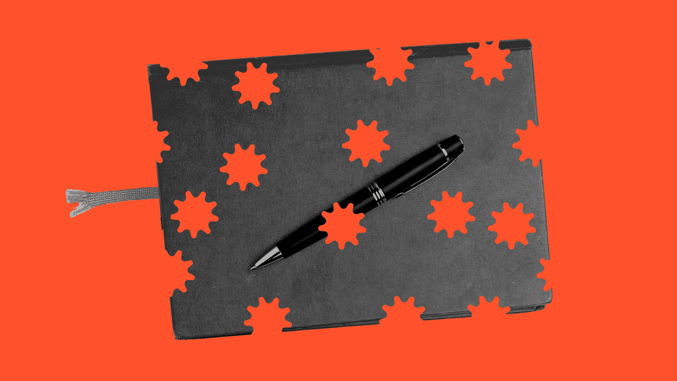 An illustration of a notebook with coronavirus-shaped holes in it