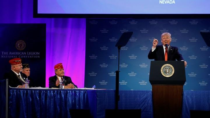 Donald Trump speaks at the American Legion in Reno, Nevada.