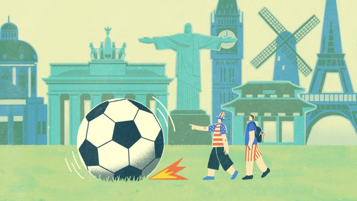 An illustration of two friends and a soccer ball.