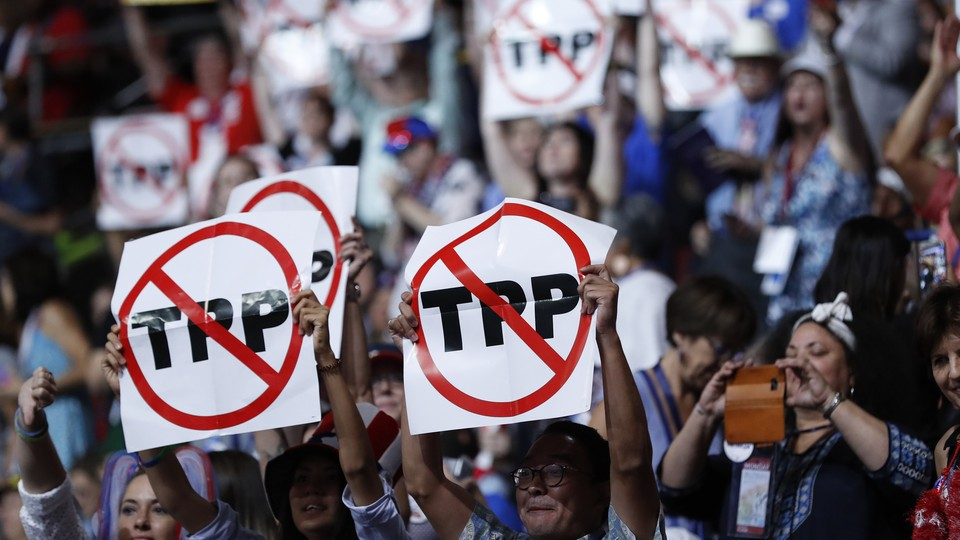 Protestors against the Trans-Pacific Partnership