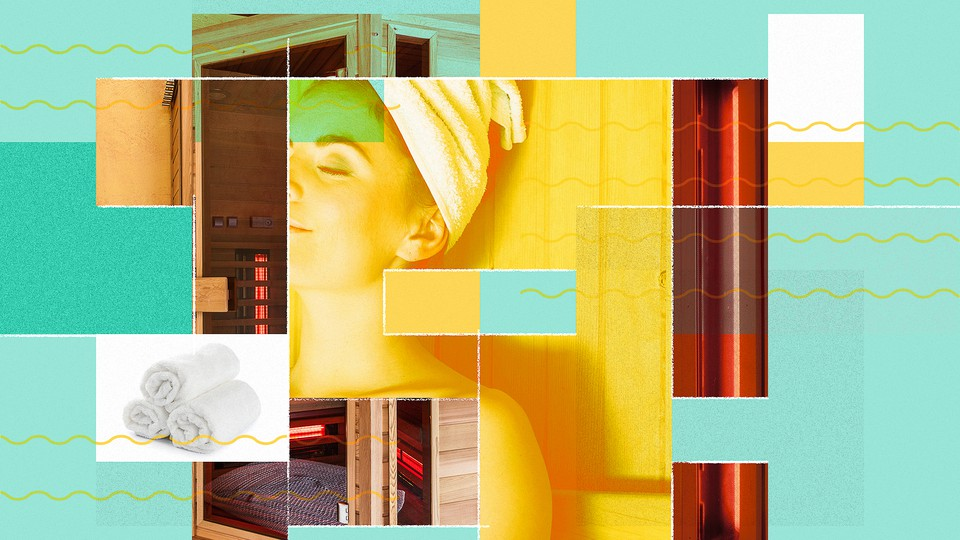 Collage including a woman relaxing with a towel wrap on her head, rolled towels, and infrared lights in a wood-paneled sauna