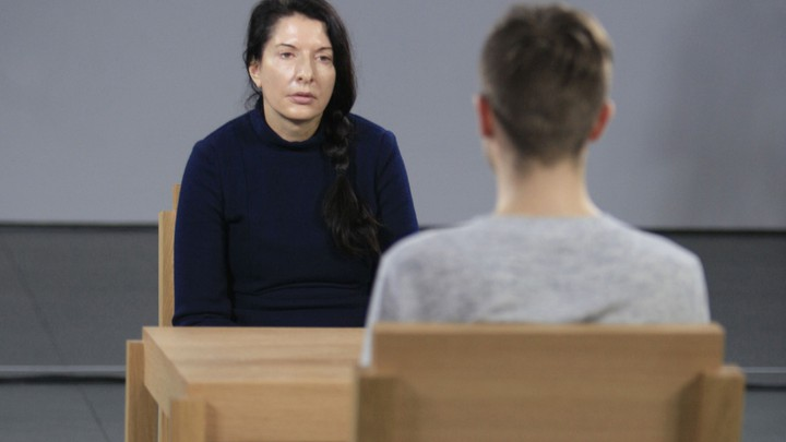 """Marina Abramovic at her 2010 exhibition """"The Artist Is Present"""""""