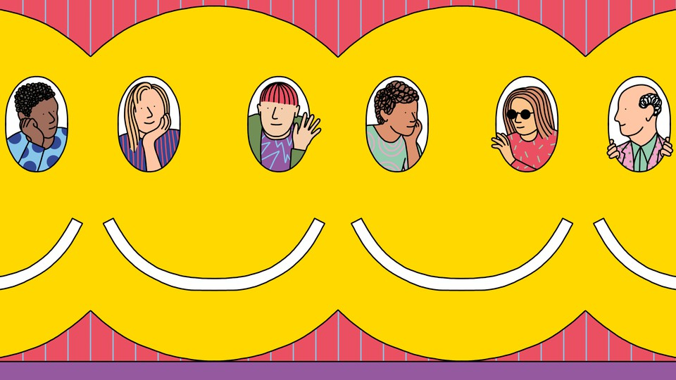 People peer out of the eyes of interconnected smiley faces