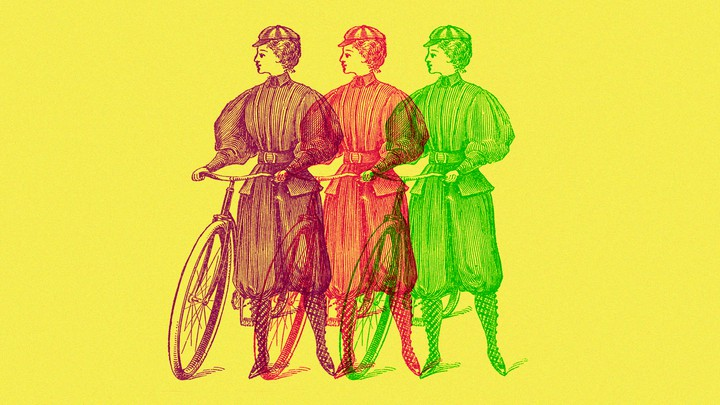 Three line sketches of women wearing bloomers-style outfits and standing next to bicycles