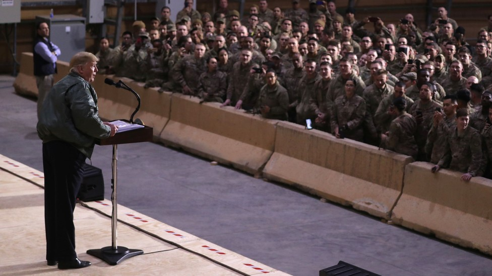 President Trump addresses American troops at a U.S. military base in Iraq.