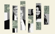 A fragmented photo of Bill and Melinda Gates, superimposed with fragments of money