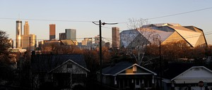The Atlanta skyline with Mercedes-Benz Stadium