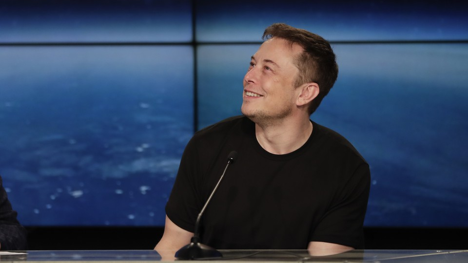 Elon Musk, SpaceX CEO and founder, at a press conference after the Falcon Heavy launch
