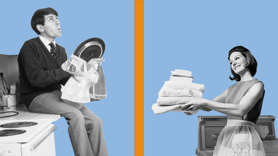 A photo illustration of a man and a woman doing household chores