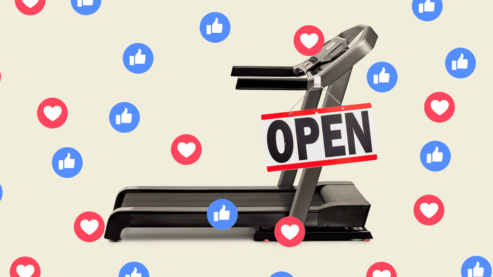 "A photo collage of a  treadmill with an ""open"" sign and Facebook icons on top of it."