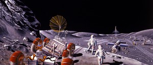 A NASA rendering of a moon base with lunar rover from 1986.