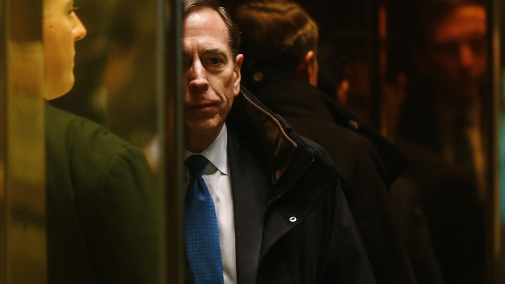 Former CIA director David Petraeus arrives to meet with U.S. President-elect Donald Trump on November 28, 2016.
