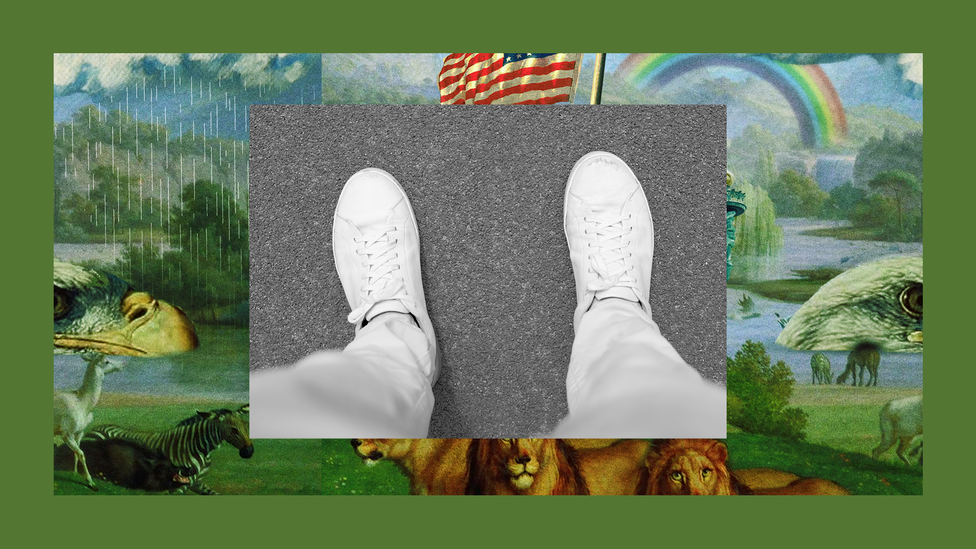 The legs and feet of a person wearing sweatpants, set into The Experiment's image template.