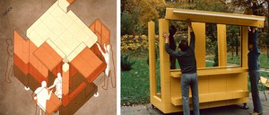 A drawing of humans assembling a modular municipal installation next to a photo of three men assembling one in real life.