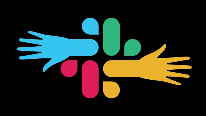 Slack logo with hands reaching out of it
