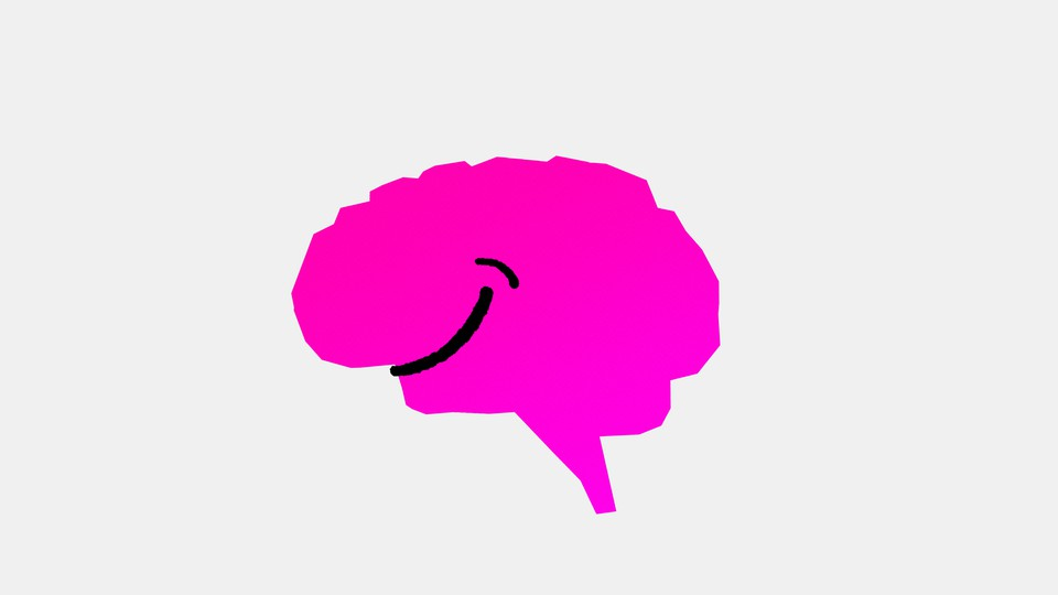 An image of a neon pink brain with a smiley face