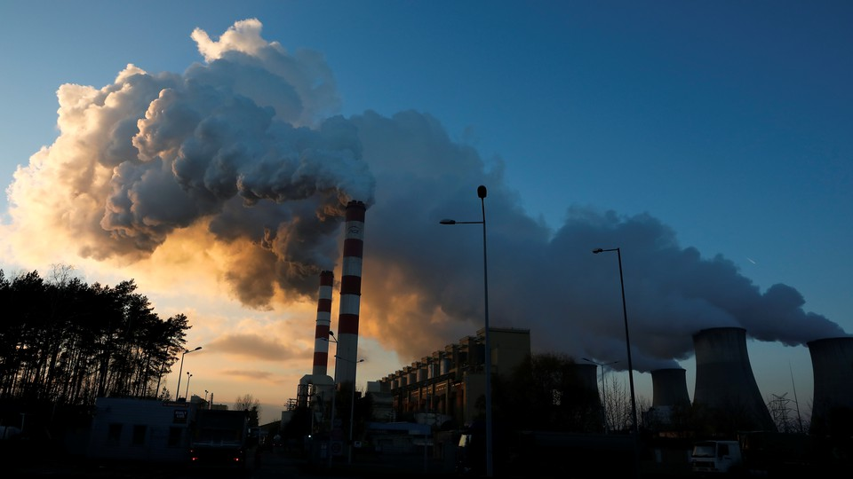 Smoke and steam billow from Belchatow Power Station, Europe's largest coal-fired power plant.