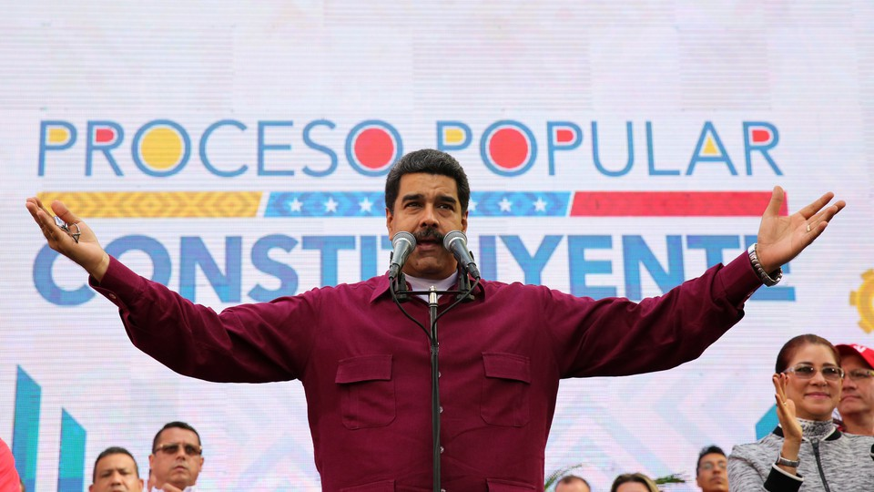 Venezuela's President Nicolas Maduro speaks, during a meeting with supporters at Miraflores Palace in Caracas, Venezuela, on May 19, 2017.