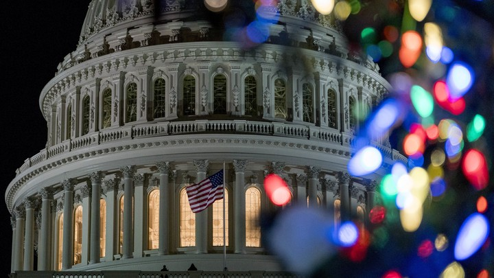 The Capitol dome framed by Christmas lights