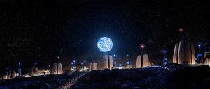 a rendering of the moon village with a view of Earth