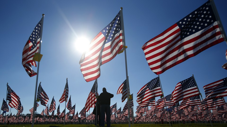 A field of American flags