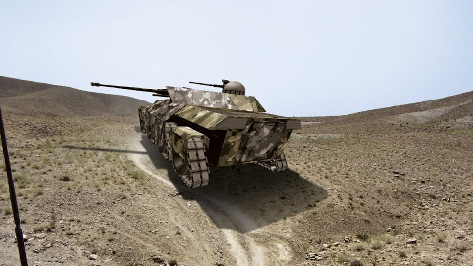 A rendering of a futuristic tank in a desert environment