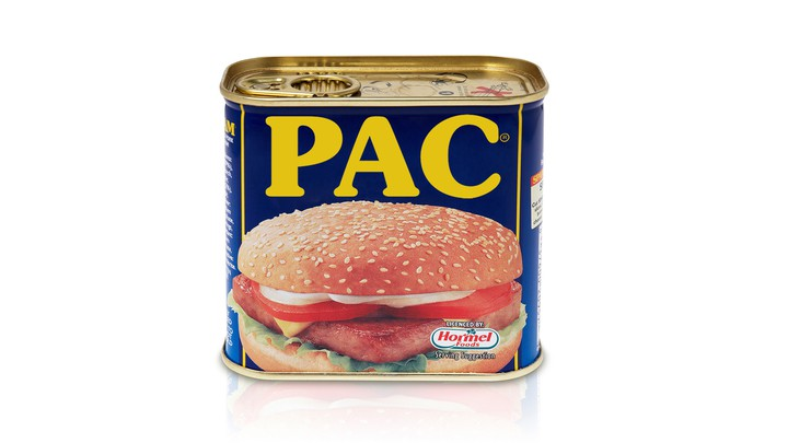 "An illustration of a SPAM can with the letters ""PAC"" written across."