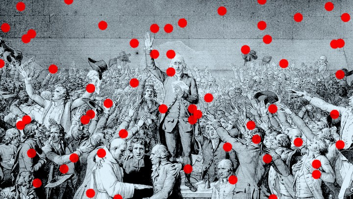 An illustration of red dots randomly placed over an etching of revolutionaries