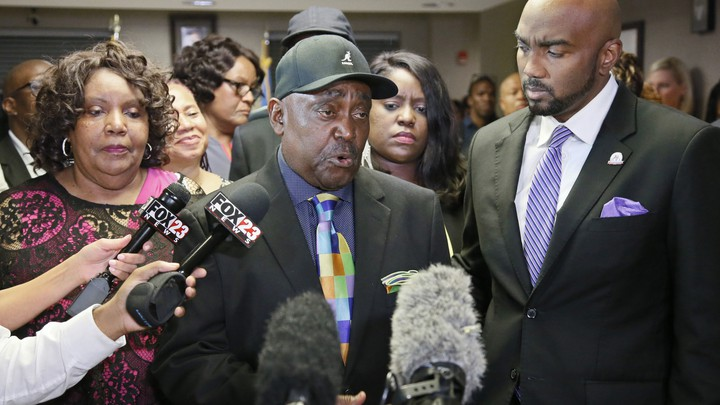 Crutcher's father, the Rev. Joseph Crutcher, talks with the media following the trial verdict on May 17, 2017.
