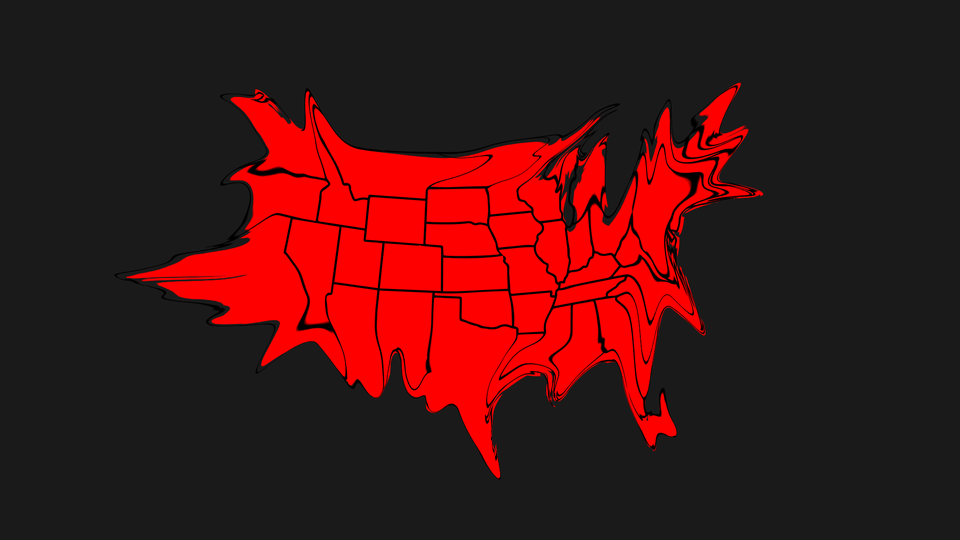An illustration of a warped U.S. map